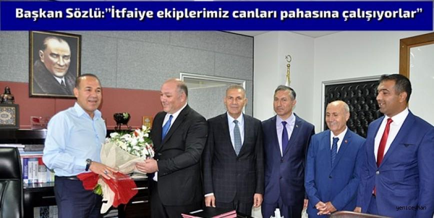 İtfaiye çalışanlarından Başkan Sözlü'ye ziyaret